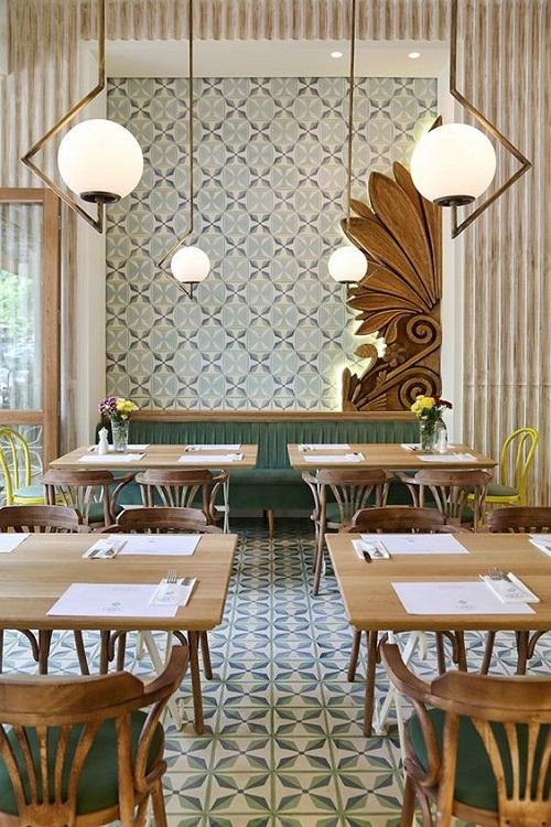Trang trí bằng gạch bông cổ điển cho quán cà phê dễ lau dọn