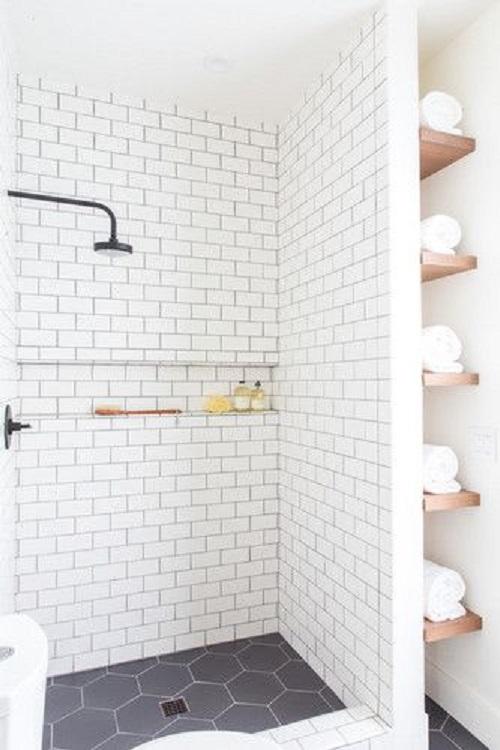 Gạch lục giác màu đen cho phòng vệ sinh đẹp