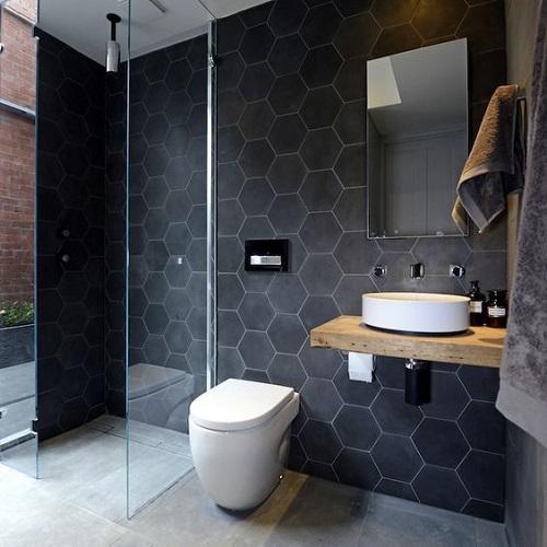 Gạch lục giác màu đen phòng vệ sinh mang phong cách nổi bật