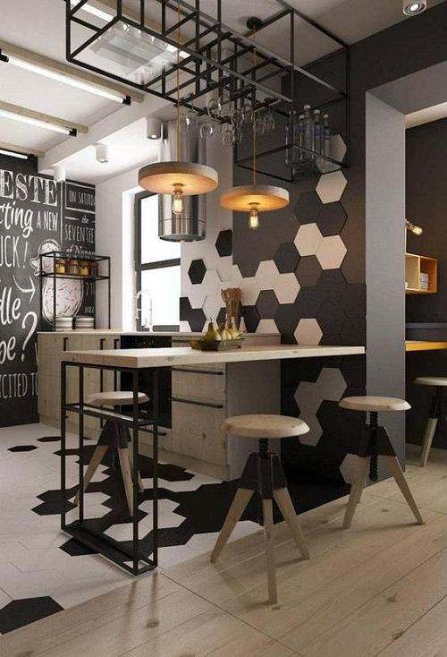 Gạch lục giác màu đen cho quán cà phê như một bức tranh