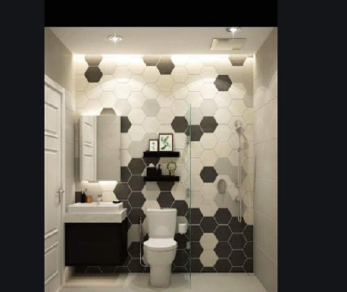 Gạch lục giác màu đen nâng phòng vệ sinh thêm sự sang trọng, độc đáo và tinh tế