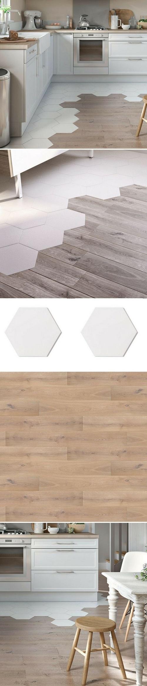 Gạch lục giác màu trắng cho phòng bếp độc đáo