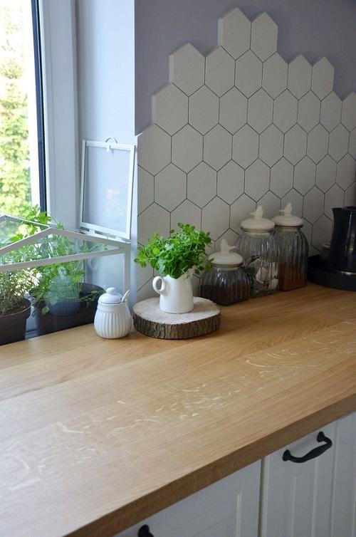 Gạch lục giác màu trắng cho phòng bếp độc đáo và tinh tế