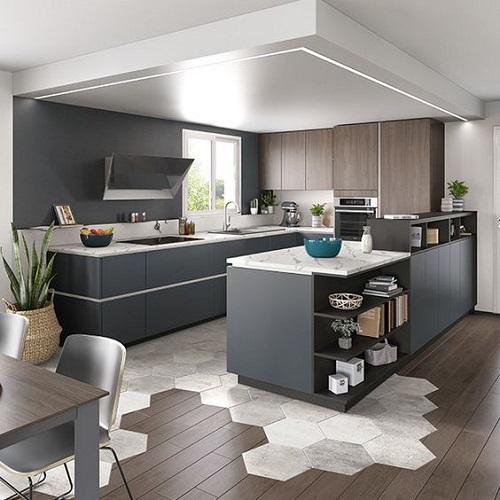 Trang trí phòng bếp bằng Gạch lục giác màu trắng