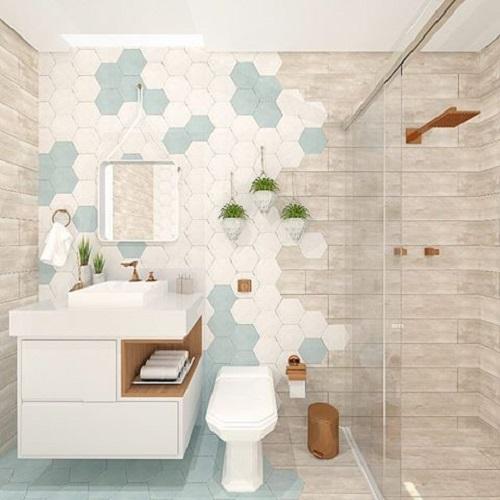 Gạch lục giác màu trắng ốp tường quán góp phần tạo nên một bức tường ấn tượng.