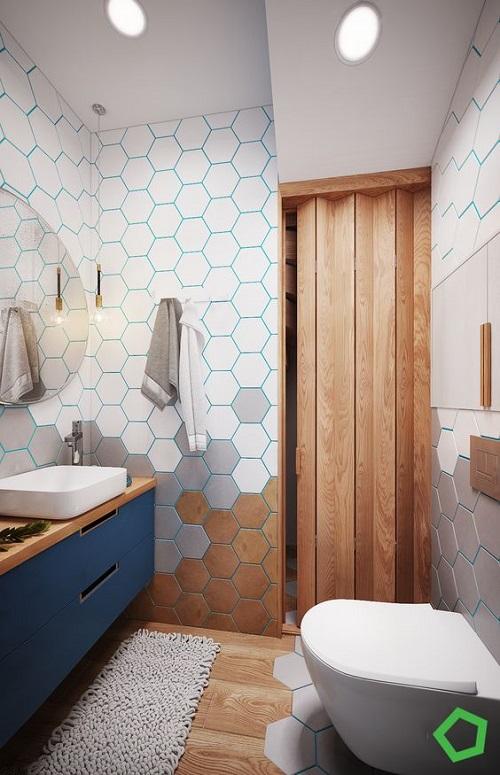 Gạch lục giác màu trắng cho phòng vệ sinh trở nên sáng tạo và độc đáo