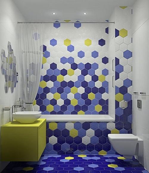 Gạch lục giác màu trắng ốp tường phòng vệ sinh tạo cảm giác thư giãn dễ chịu, thoải mái.