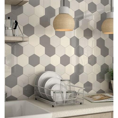 Thay vì chỉ ốp bếp bằng gạch khác, bạn có thể sử dụng Gạch lục giác màu trắng