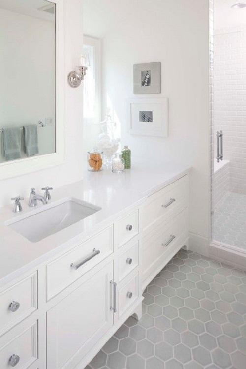 Gạch lục giác màu xám cho phòng vệ sinh sạch sẽ