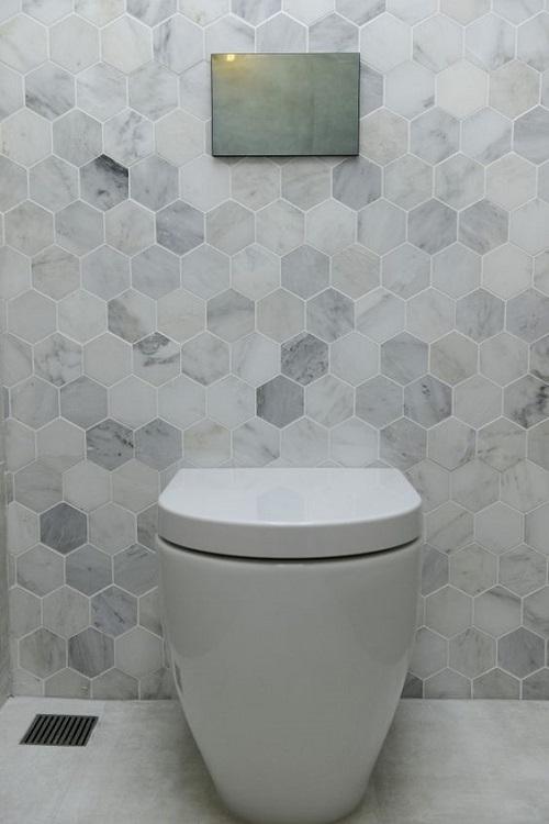 Gạch lục giác màu xám cho phòng vệ sinh lịch sự
