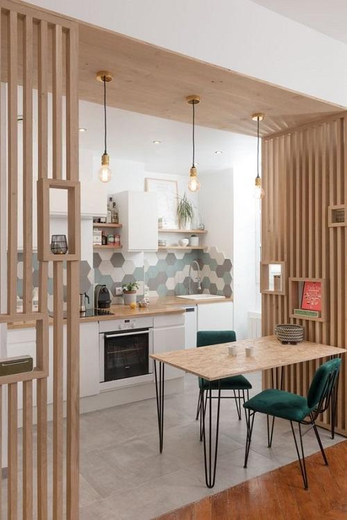 Gạch lục giác màu xám cho phòng bếp chính là sự lựa chọn hoàn hảo
