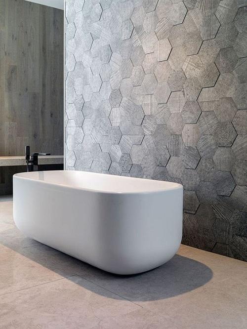 Trang trí bằng Gạch lục giác màu xám cho phòng vệ sinh thân thiện