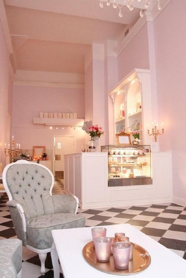 Gạch thẻ màu hồng cho quán cà phê chính là sự lựa chọn hoàn hảo