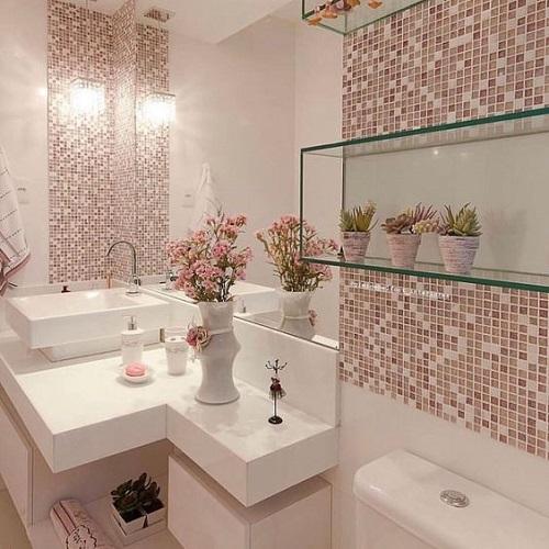 Gạch mosaic màu hồng phòng vệ sinh mang phong cách nổi bật