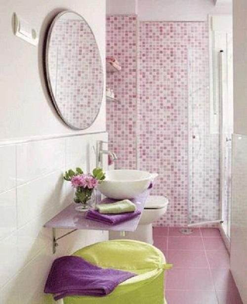 Gạch mosaic màu hồng mang lại cảm giác thư giãn vẻ tôn quý