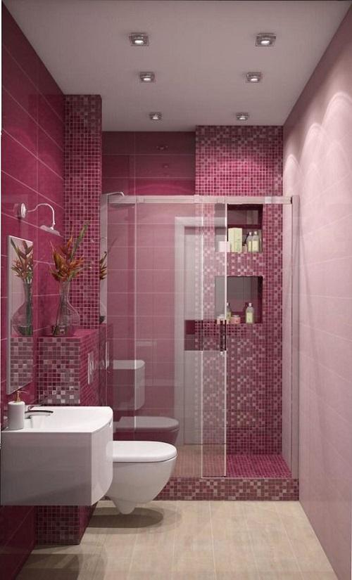 Gạch mosaic màu hồng cho phòng vệ sinh như một bức tranh
