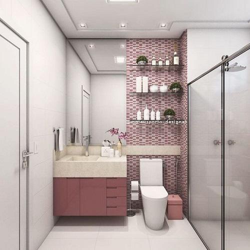 Gạch mosaic màu hồng cho phòng vệ sinh thu hút