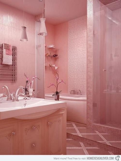 Gạch mosaic màu hồng cho phòng vệ sinh độc đáo
