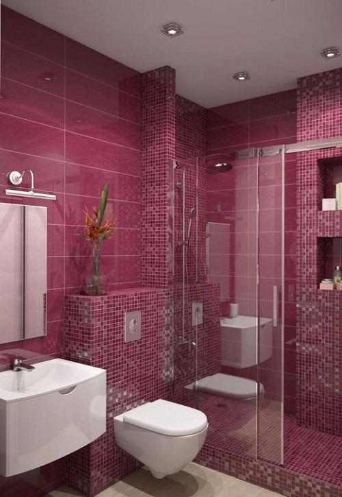 Trang trí bằng Gạch mosaic màu hồng cho phòng vệ sinh sạch sẽ