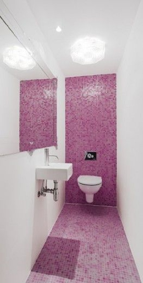 Trang trí bằng Gạch mosaic màu hồng cho phòng vệ sinh hiện đại