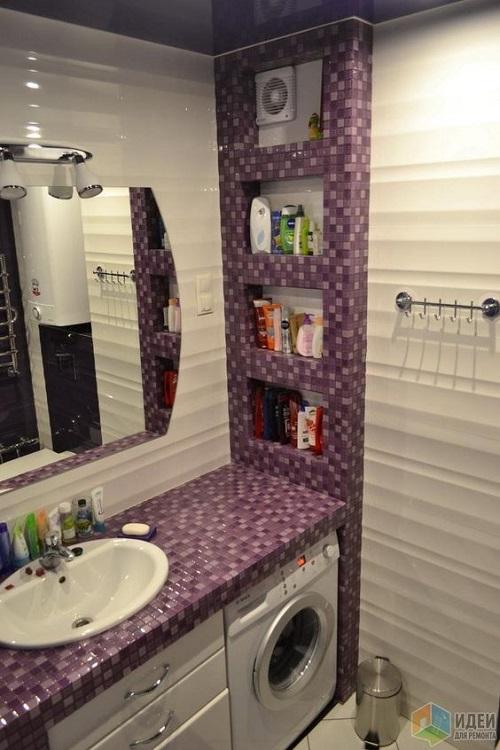 Trang trí bằng Gạch mosaic màu hồng cho phòng vệ sinh dễ lau dọn