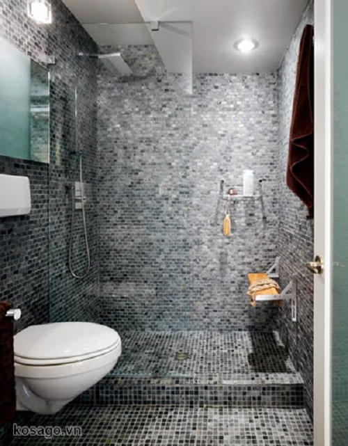 Trang trí phòng vệ sinh bằng Gạch mosaic màu xám