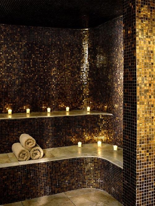 Gạch mosaic thủy tinh màu vàng cho phòng vệ sinh đẹp