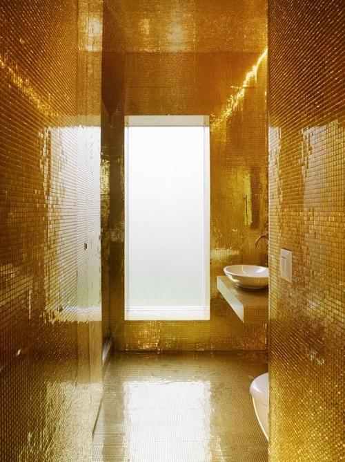 Gạch mosaic thủy tinh màu vàng cho phòng vệ sinh lịch sự
