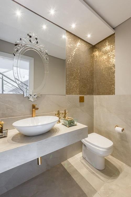 Gạch mosaic thủy tinh màu vàng cho phòng vệ sinh nổi trội