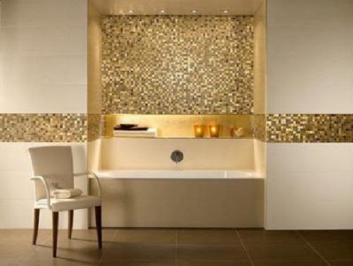 Gạch mosaic thủy tinh màu vàng cho phòng vệ sinh độc đáo