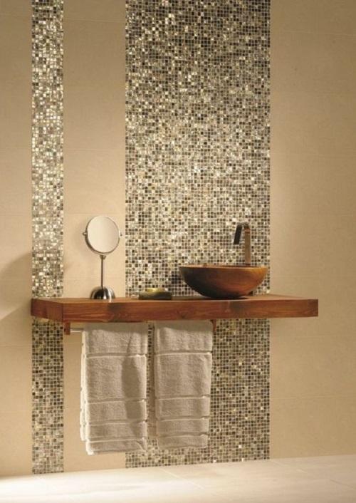 Trang trí phòng vệ sinh bằng Gạch mosaic thủy tinh màu vàng