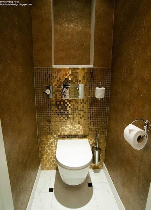 Gạch mosaic thủy tinh màu vàng cho phòng vệ sinh độ an toàn cao