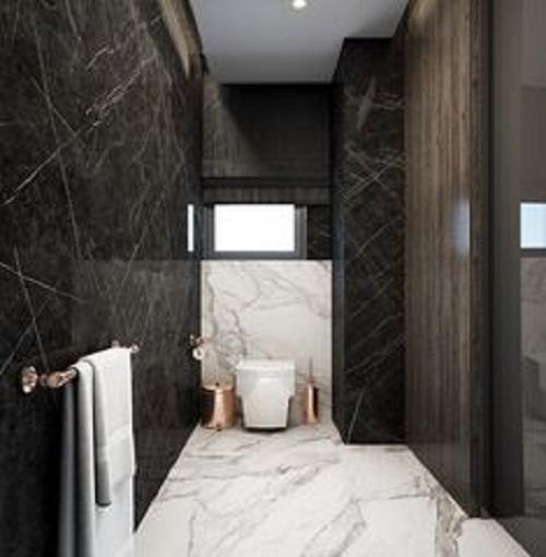 Gạch thẻ màu đen cho phòng vệ sinh độc đáo sang trọng