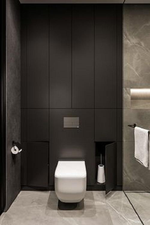 Gạch thẻ màu đen cho phòng vệ sinh độc đáo