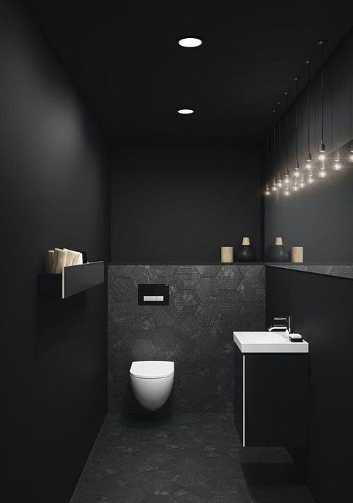 Gạch thẻ màu đen cho phòng vệ sinh đẹp