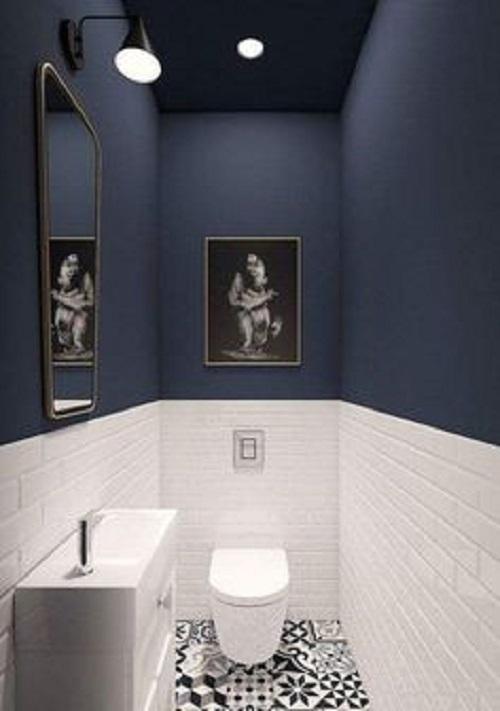Gạch thẻ màu đen cho phòng vệ sinh vừa sạch đẹp, vừa có nét thu hút rất riêng