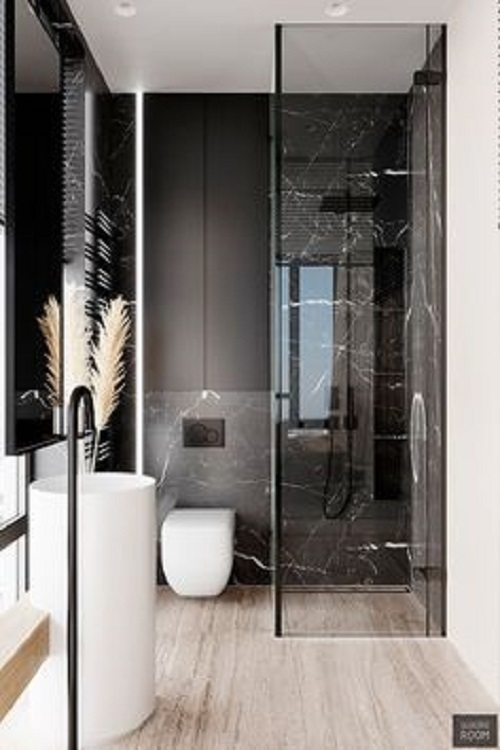 Gạch thẻ màu đen cho khu vực nền nhà của phòng vệ sinh là một gợi ý không tồi