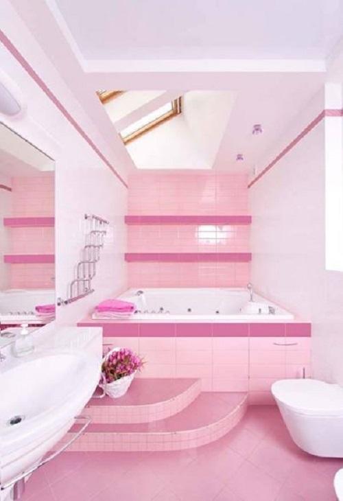 Trang trí bằng Gạch thẻ màu hồng cho phòng vệ sinh dễ dọn dẹp