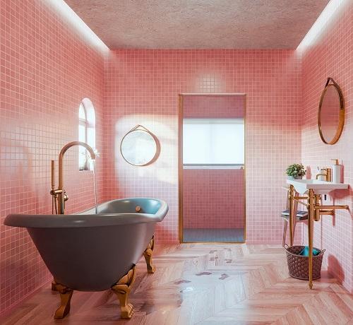 Gạch thẻ màu hồng tạo ra nét dịu dàng cho phòng vệ sinh