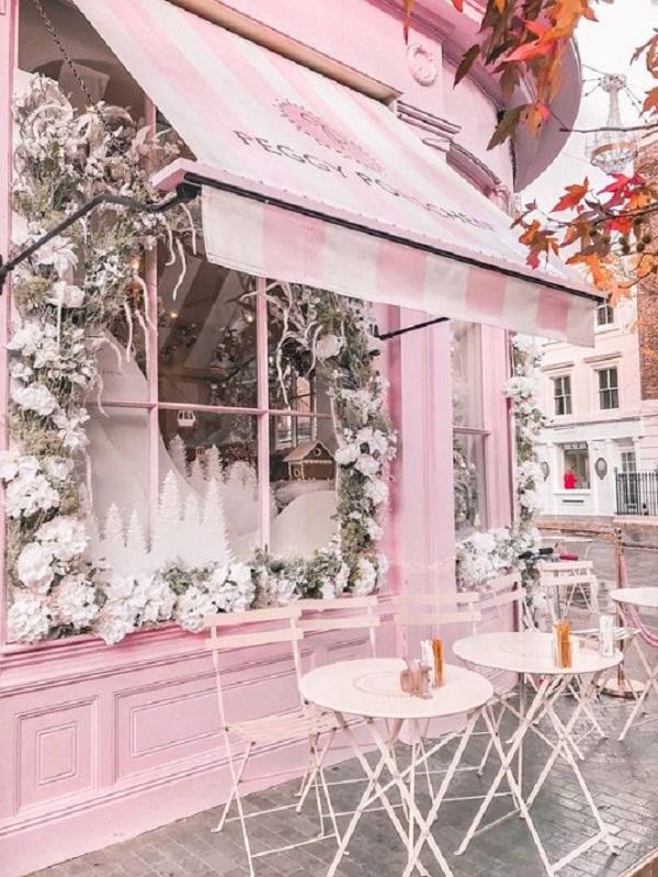 Gạch thẻ màu hồng cho quán cà phê rất hiện đại và thẩm mỹ