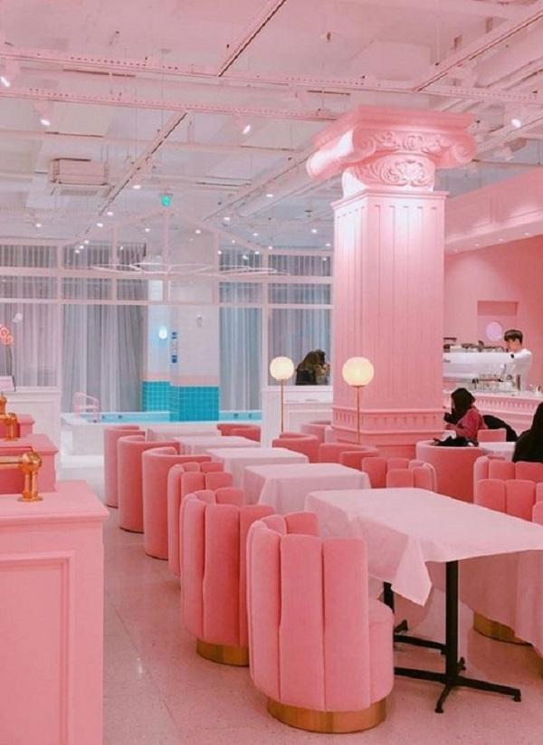 Gạch thẻ màu hồng cho quán cà phê đẹp