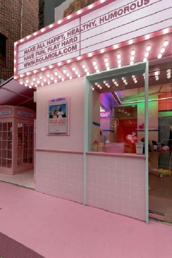 Gạch thẻ màu hồng cho quán cà phê thoáng mát