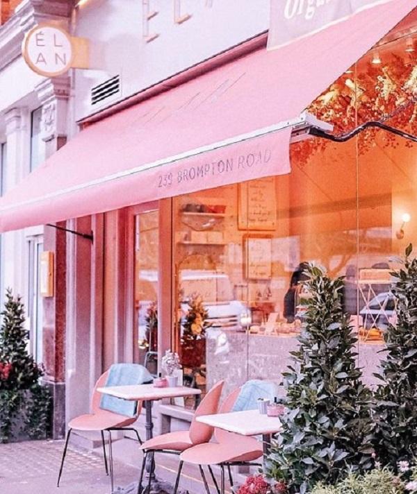Gạch thẻ màu hồng cho quán cà phê ấn tượng