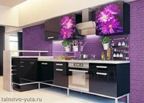 Gạch thẻ màu tím cho phòng bếp độc đáo và tinh tế