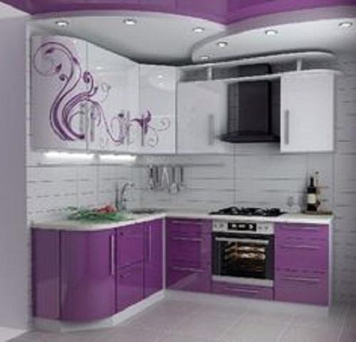 Trang trí bằng Gạch thẻ màu tím cho phòng bếp sang trọng