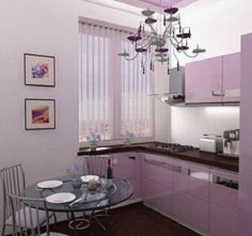 Gạch thẻ màu tím cho không gian bếp không gian trông rộng rãi, thoáng đãng