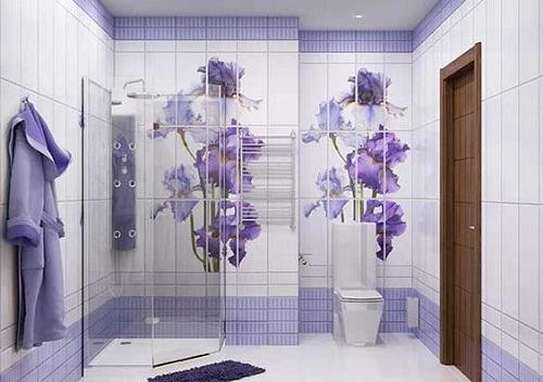 Trang trí bằng Gạch thẻ màu tím cho phòng vệ sinh sang trọng