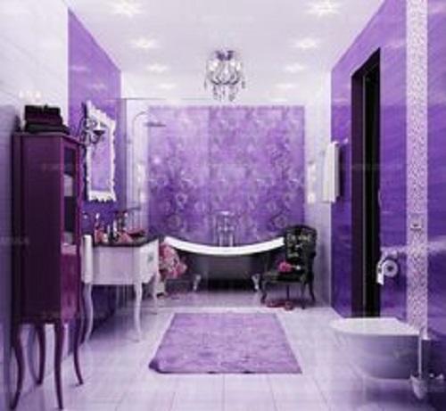 Trang trí bằng Gạch thẻ màu tím cho phòng vệ sinh dễ dọn dẹp