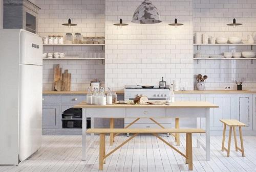 Mẫu gạch đơn giản mang đến cho không gian bếp vẻ đẹp hiện đại, tối giản mà không hề đơn điệu, nhàm chán