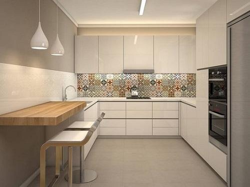 Gạch thẻ màu trắng cho phòng bếp nổi bật tràn ngập ánh sáng.